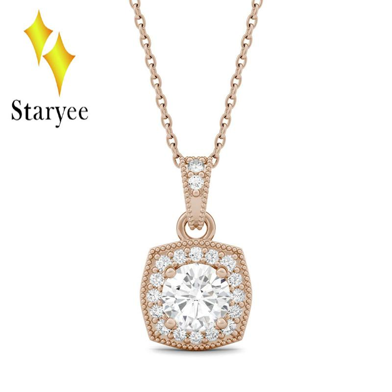 a979dcb8f 2019 Test Positive Charles&Colvard Forever One 0.6CT Moissanite Milgrain  Halo Pendant Chain Necklace In 14k Rose Gold Jewelry From Frenky, $689.29 |  DHgate.