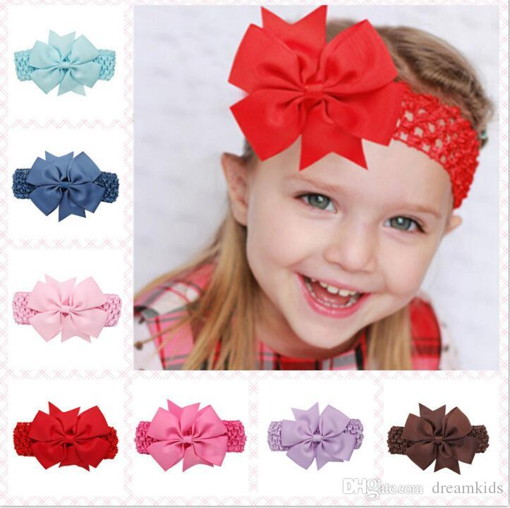 Baby Girl 4.3 Inch Headwear Solid Hair Accessories Swallowtail Bow Headband  With Baby Elastic Scrunchy Baby Hair Bands Blue Hair Accessories Girls Hair  ... 62687bc0b66a