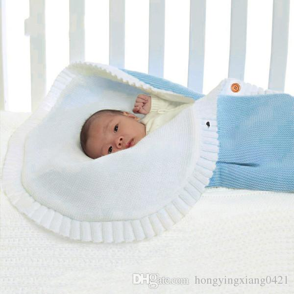348bf614a0d0 Blue Patchwork Newborn Baby Knitting Blanket Swaddle Sleeping Bag ...