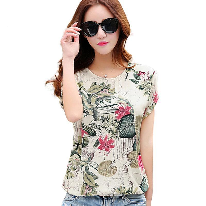 163491ab6a8bd 2019 Floral Print Women S Blouses Ladies Shirts Summer Tops Casual Plus  Size Blouse Shirt Fashion Korean 2016 New Blusas Female From Luweiha