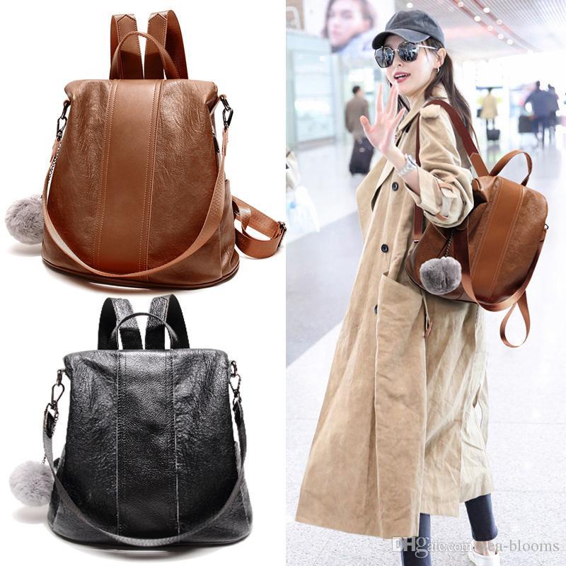 8a0952fb6c 2019 Backpack PU Leather Travel Bags Vintage Girls Black Brown Leisure  Travel Shoulder Bag For Teenage Girls G143L From Sea Blooms