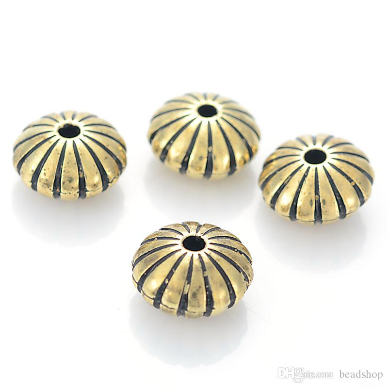 100 Stücke 8x14mm Acryl Stripped Flache Runde Form Kunststoff Antikes Design Perlen Für Diy Schmuck Armbänder, Zubehör