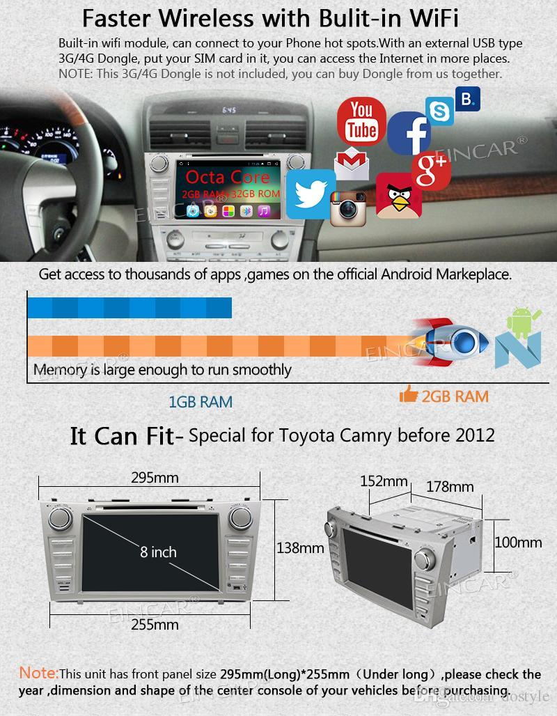 Eincar Android 7.1 Car Stereo 8''Double Din Car DVD Player para TOYOTA CAMRY 2007-2012 Autoradio Video FM / AM Radio Bluetooth In Dash