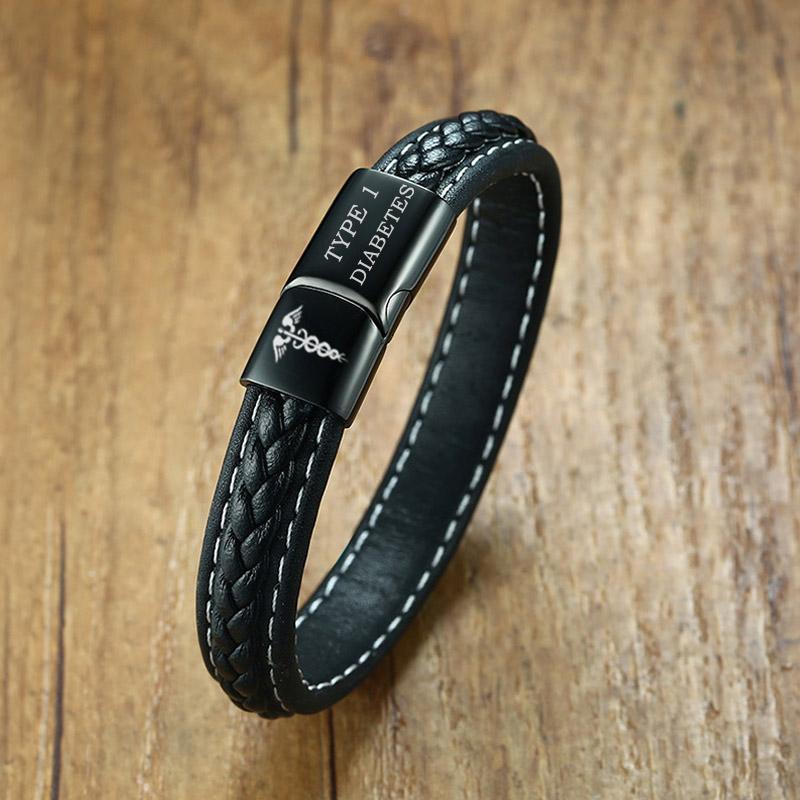 016eefbe6877a TYPE 1 DIABETES Medical Alert Bracelet Emergency Remind Jewelry Black  Genuine Leather