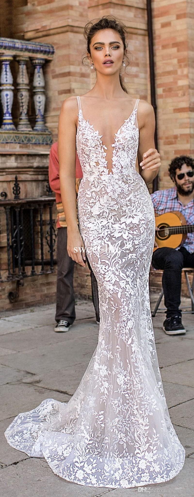 2020 Berta Novia Sirena Vestidos de novia sin espalda Espagueti sexy Escote en V Apliques de encaje completo Trompeta Tallas grandes Vestidos de novia por encargo
