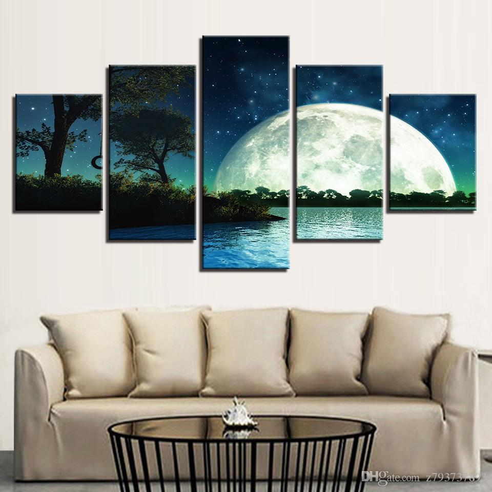 2019 painting living room posters framework hd printed 5 panel moon rh dhgate com wall posters for living room india wall posters for living room india