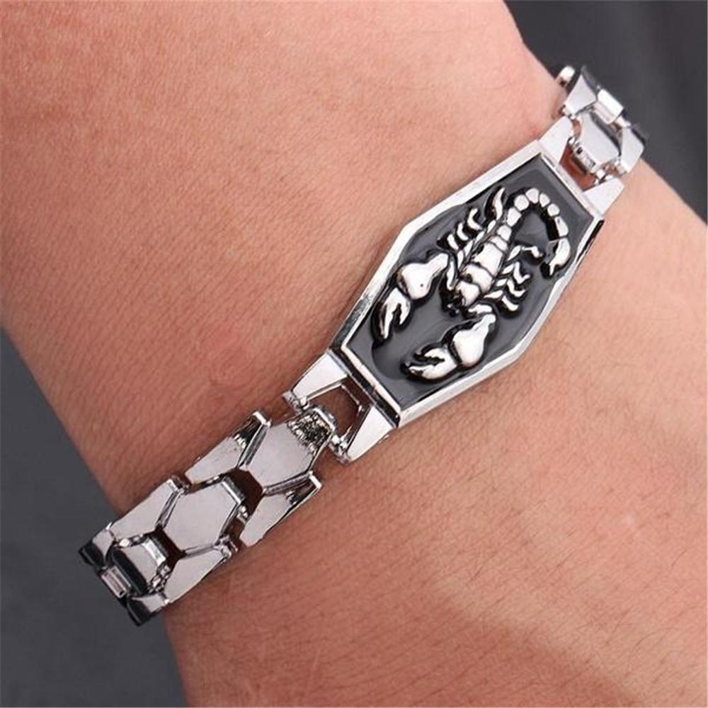 Fashion MenS Scorpio Bracelet Punk Charm Titanium Steel Chain Constellation Jewelry Birthday Gift For Men Silver Bangle 14k Gold Charms