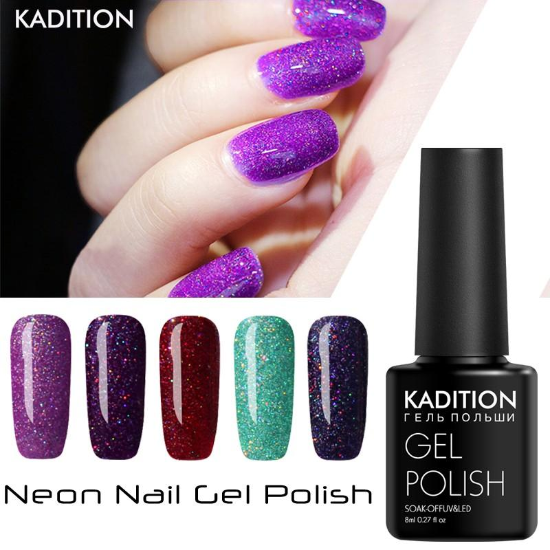 KADITION Best Selling Nail Polish 8ML UV LED Lamp Bling Colors Neon ...
