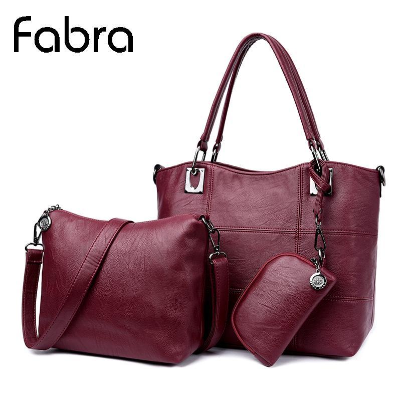 951898f7f008 Fabra Women Bag Casual Tote Women Messenger Bags Handbag Set PU ...