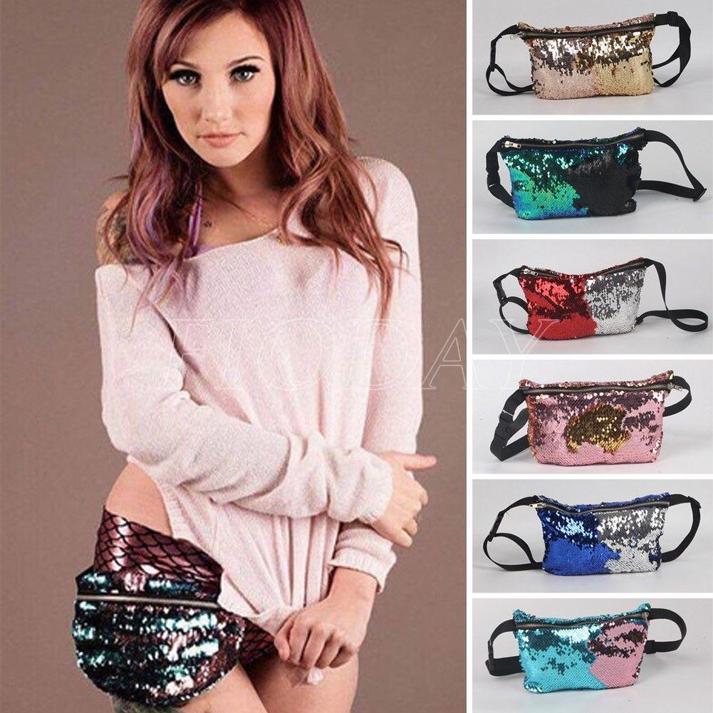922f4d2cd3a Reversible Mermaid Sequin Glitter Waist Fanny Pack Belt Bum Bag Pouch Hip  Purse beautiful color Sequined pockets