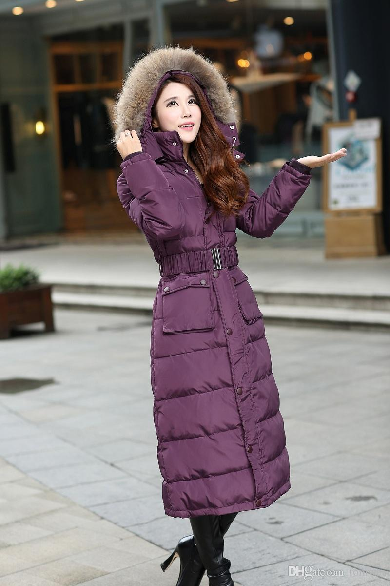 4604d85a620d7 Online Cheap Womens Down Jackets Long Coat Natural Raccoon Fur Winter Parkas  Hooded Belt Snow Clothes Thicker Warm Outwear Outdoor Jacket S 4xl Big Size  By ...