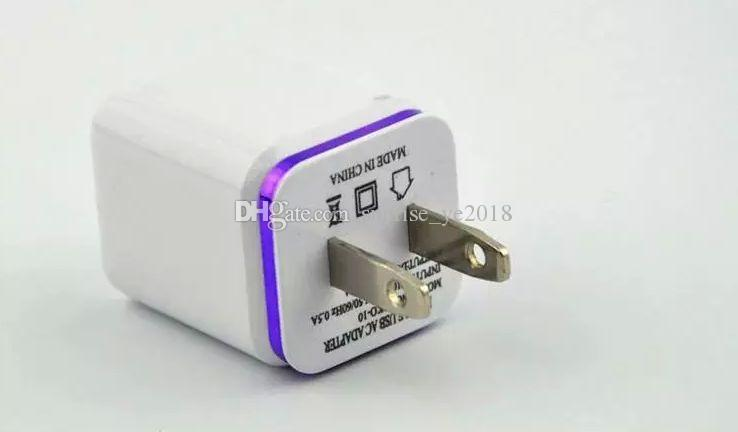 2.1A metal color ring Wall Charger us Plug Dual USB AC Power Adapter 2 ports for Samsung iphone with retail box