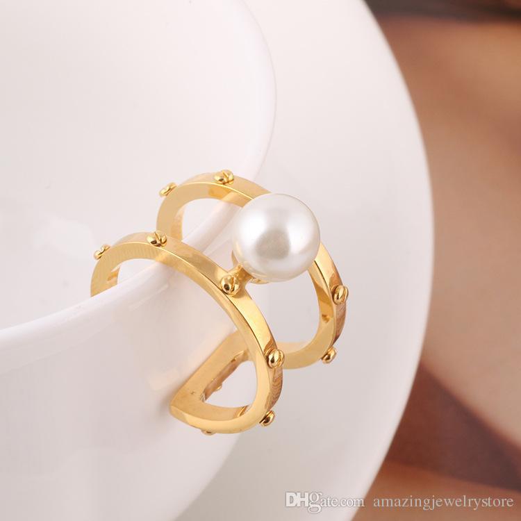 2018 Material de latón Anillos de apertura Anillo de nudillo del dedo medio con perlas 0.8 cm perlas combinación de primavera Anillos Geometría Estilo Joyería PS6426