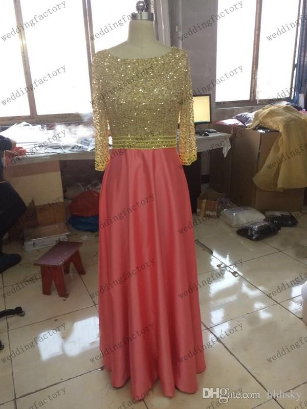 Real Image Modest Prom Dress with Sleeves High Quality Luxury Beads Sequins Crystals Pearls Gold Coral Evening Party Gowns Made hhhsky