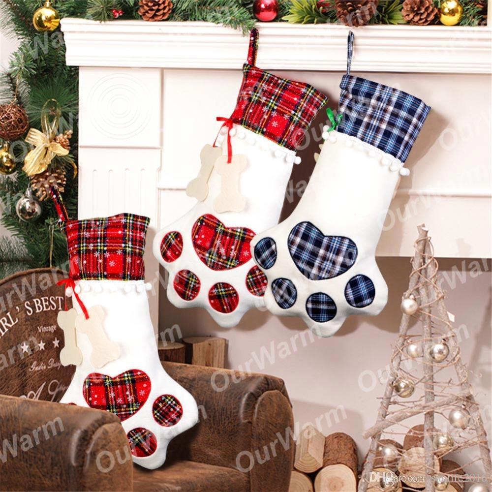 pet christmas stocking dog paw plaid gift bag animal x mas stocking for kids candy bag gifts christmas 2018 indoor decor pet christmas stocking kids candy - Dog Stockings For Christmas