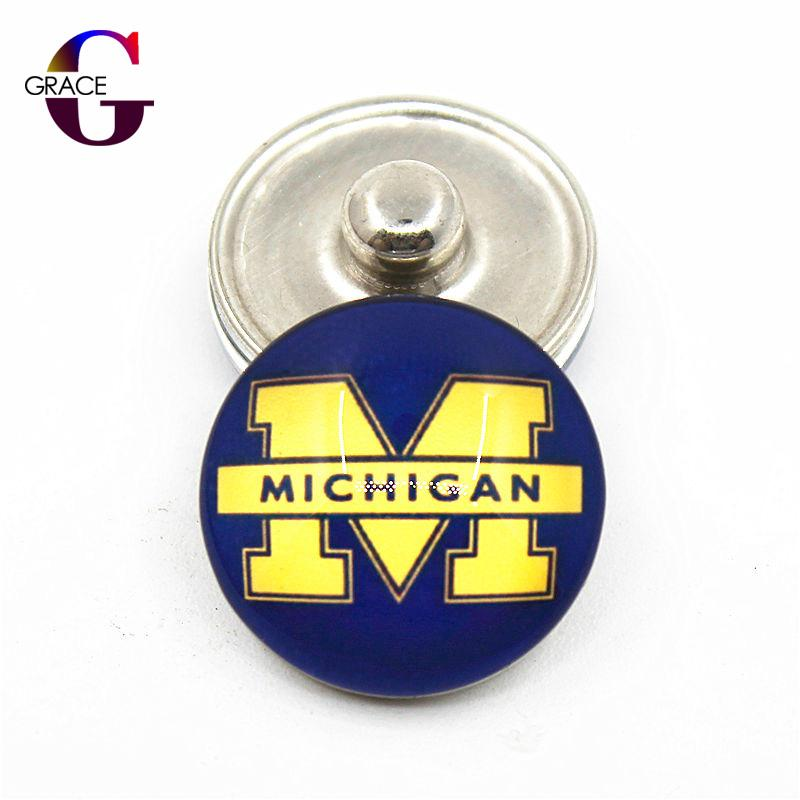 NCAA Alabama Crimson Tide Sports Glass boutons pression Fit 18mm Snap charmes BraceletBangles Collier Pendentif DIY Bijoux
