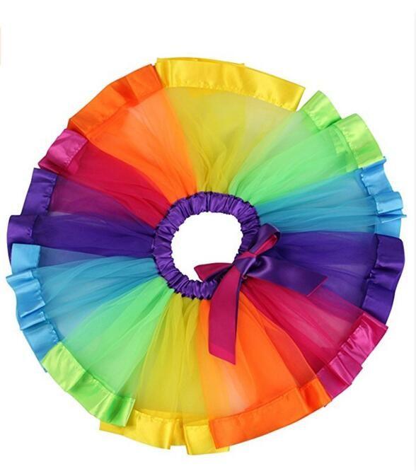 Kids Girls Tutu Skirt Dress Multicolor Rainbow Pettiskirt Bowknot Dancewear Princess Party Skirt Baby Girls Tutus