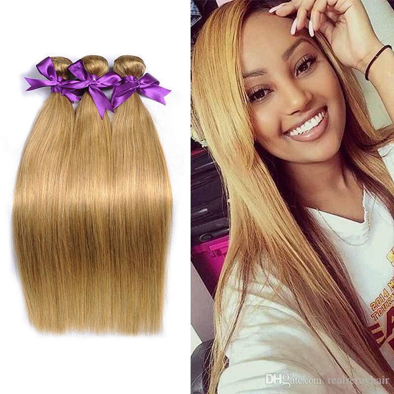 Hot Sale Brazilian Virgin Hair Weave Bundles Color 27 Honey Blonde