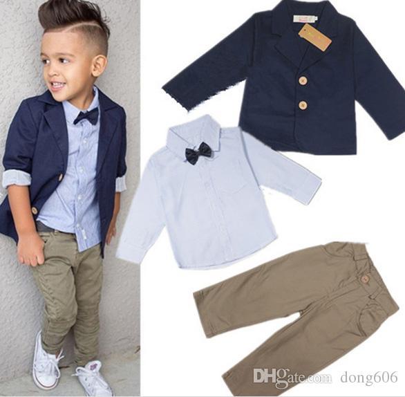 da62060ca 2019 Kid Baby Boys Suit Coat + Tie Shirt+Pants Outfits Boys Clothes ...