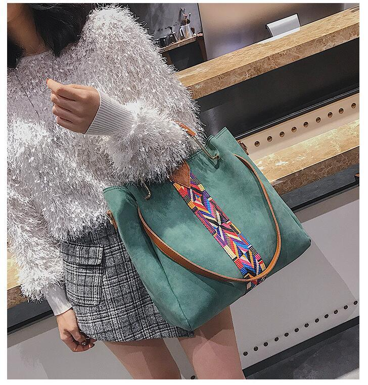 Europe and the United States new ribbon bucket type mother bag fashion hand bag shoulder large capacity Messenger baghandba