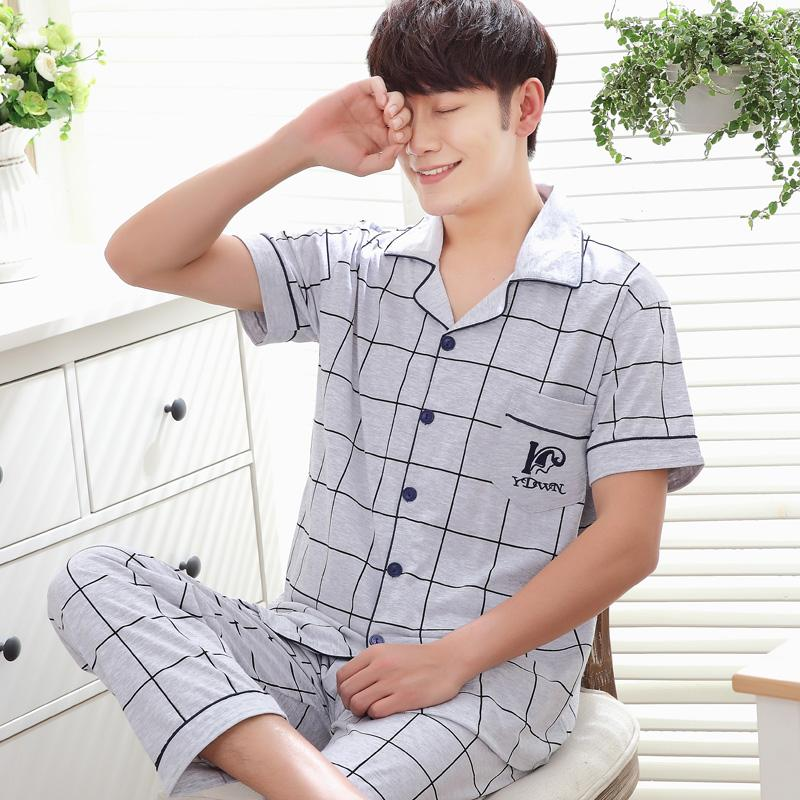 bfaa75e296a 2019 Mens Pyjamas Summer Short Sleeve Cotton Sleepwear Men S Sleep Lounge  Pajama Set Trousers Plaid From Hiem