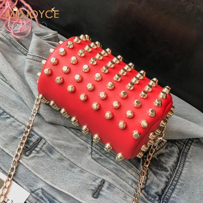 Women Rivets Long Chain Handbag Cylinder Girl Shoulder Bag Pu