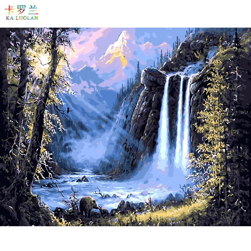 Frameless canvas painting by numbers wall decor diy picture oil painting on canvas for home decor The waterfall hand