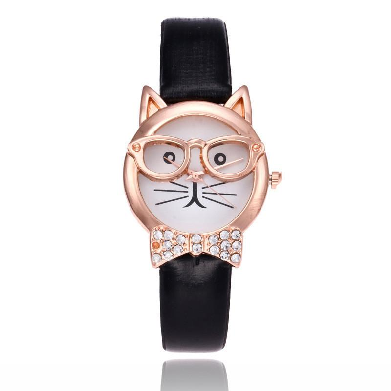 Fashion casual watches Wrist quartz watch new women girls watches best selling glasses bow tie cat face quartz watch