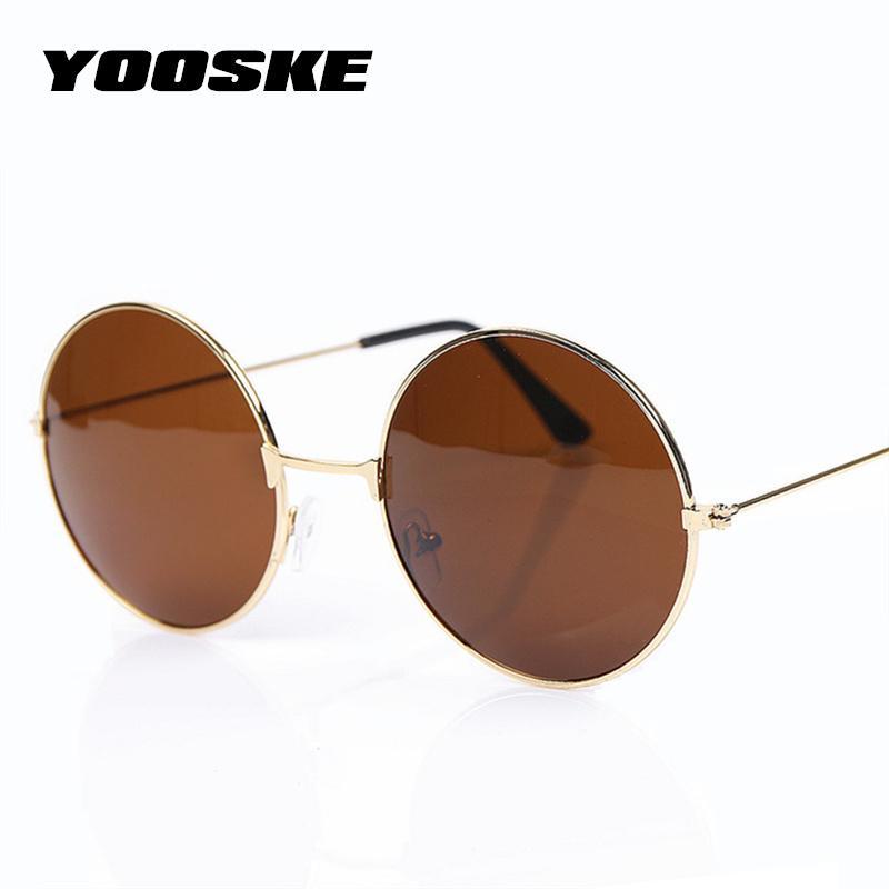 Compre YOOSKE Vintage Rodada Óculos De Sol Para Mulheres Homens Designer De Marca  Espelhado Óculos Retro Feminino Masculino Óculos De Sol Dos Homens Das ... fdfa01e055
