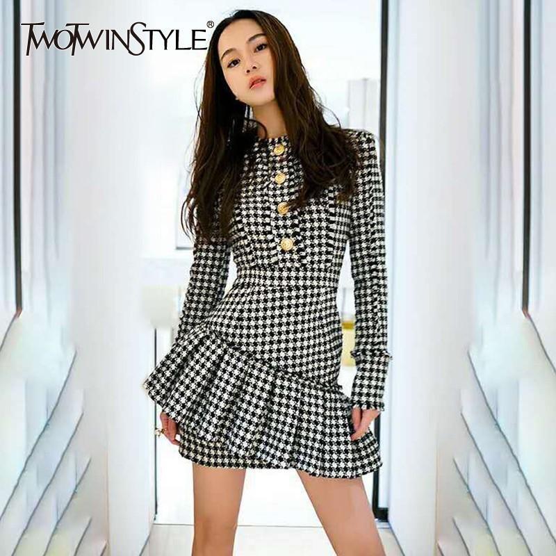 93dc21214bd TWOTWINSTYLE Plaid Womens Dress Zipper Button High Waist Long Sleeve ...