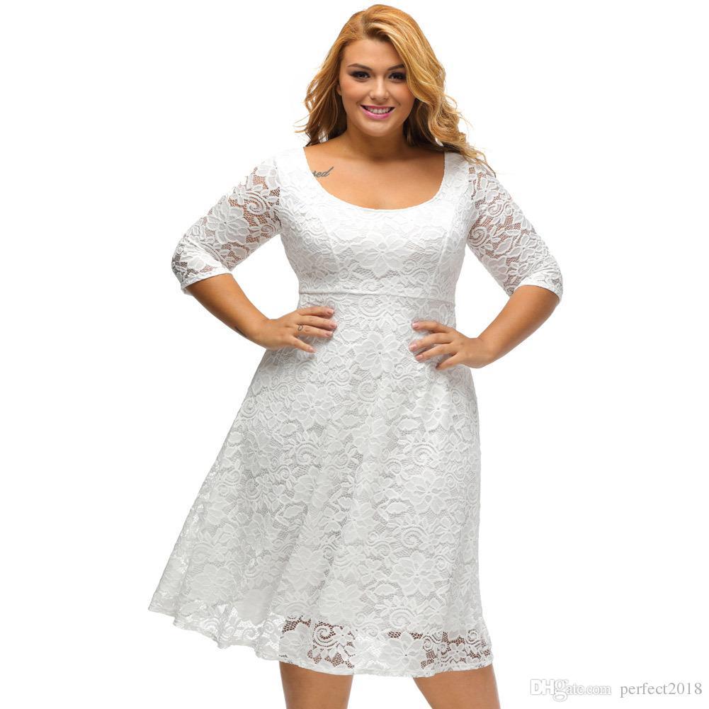 2019 Short 3/4 Sleeve Plus Size Prom Dress White/Black Lace Mother ...