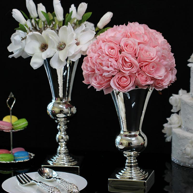 DHgate.com & Luxuriou Silver plated vase for flowers iron modern Hotel Table home decoration vase and tall vases for wedding flower 026