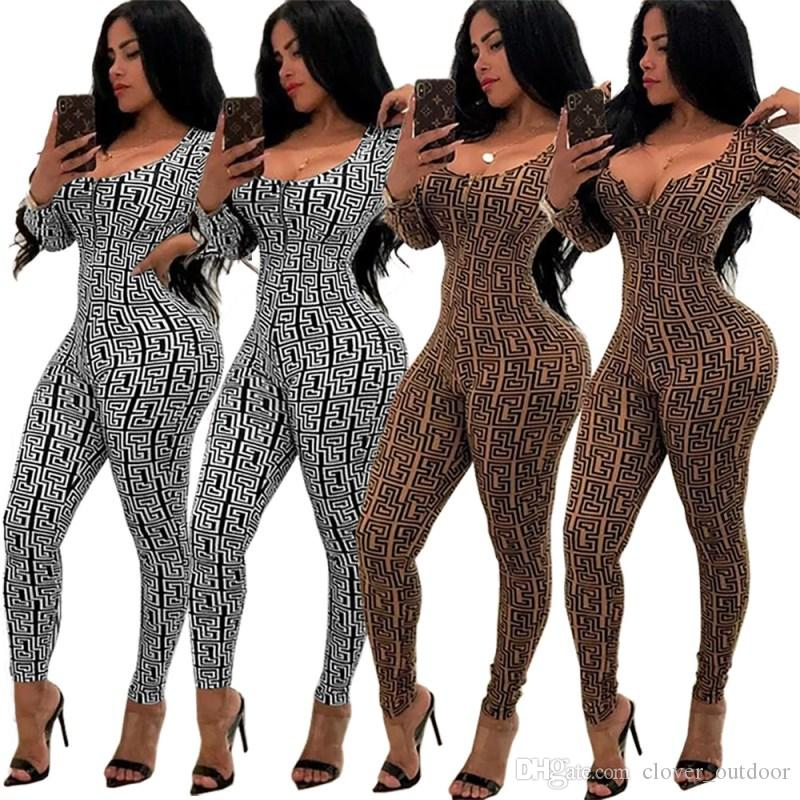 women long sleeve jumpsuit o-neck sexy romper elegant fashion slim jumpsuit pullover zipper comfortable clubwear hot k6