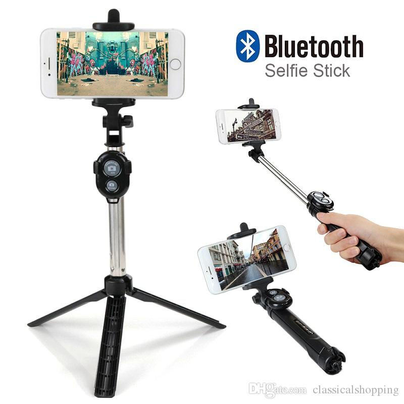 2018 Bluetooth Remote Selfie Stick Extendable Mini Monopod Tripod Universal  Pau De Palo selfie stick For iphone 6 7 8 Smartphone
