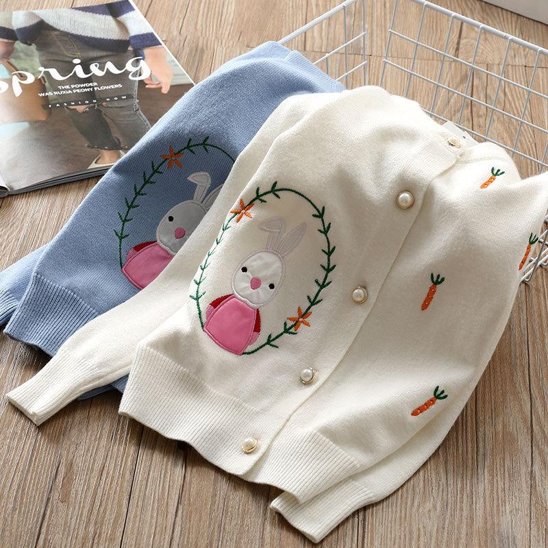 b099f01878a5 2018 Spring Autumn Girls Knitted Sweaters Baby Cardigan Coat Kids ...