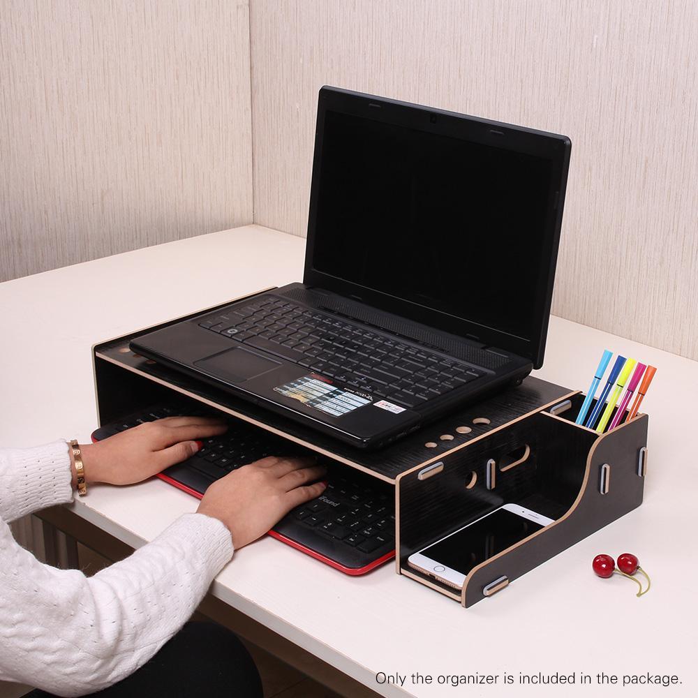 Elevated Wood Computer Monitor Stand Riser Laptop Shelf Desk