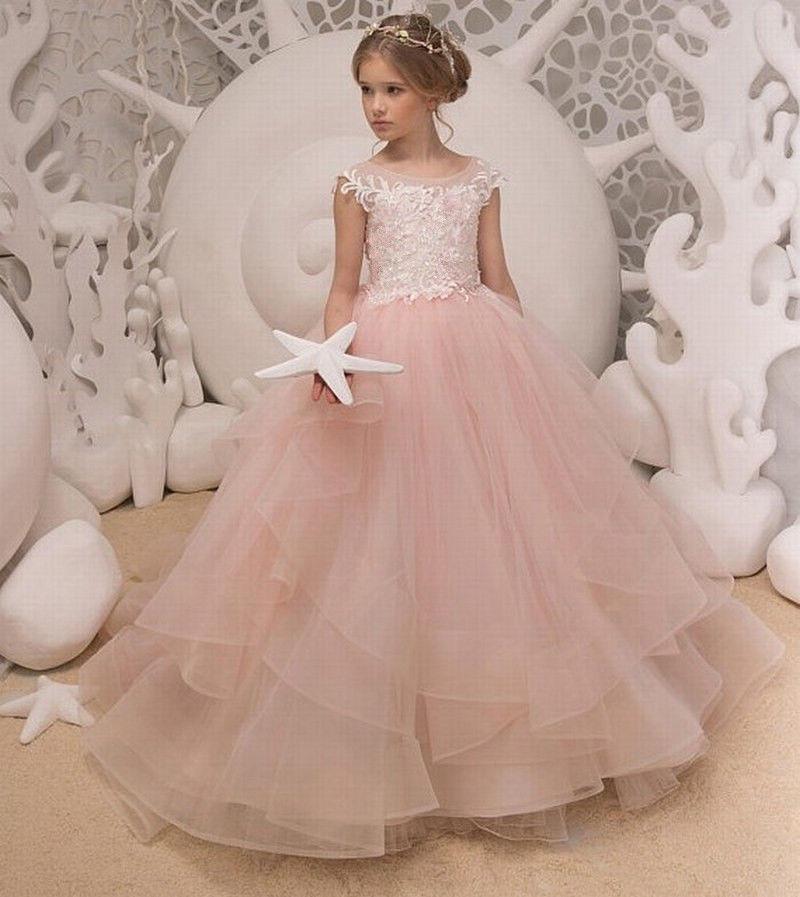 e65441a59a9b4 Acheter Blanc   Ivoire Rose Petite Fille Vêtements Première Communion Robes  Princesse Enfants Robes De Fille De Fleur Pour Manches De Mariage Cap  Occasion ...