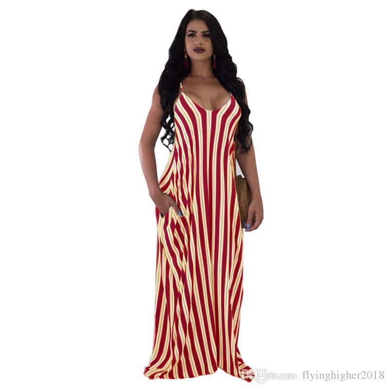 Summer Dress 2018 Women Vertical Stripe V Neck Sleeveless Sundress Loose Maxi Long Beach Bohemian Vintage Dress