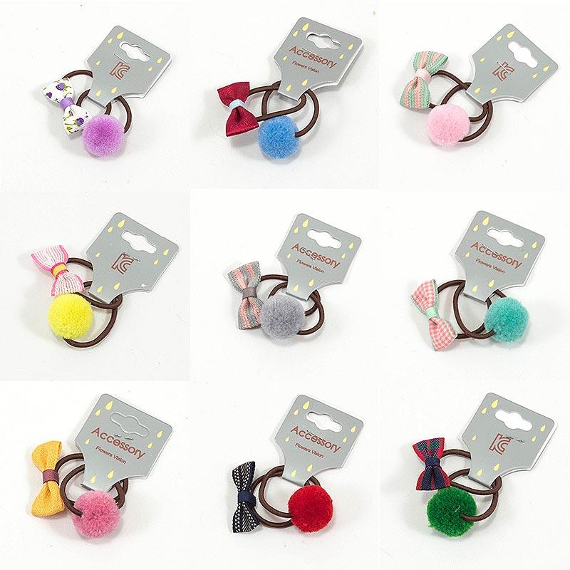 New 2 PCS/Set Girls Ball Bowknot Princess Headwear Elastic Hair Bands Kids Hair Ropes Accessories Children Baby Headdress