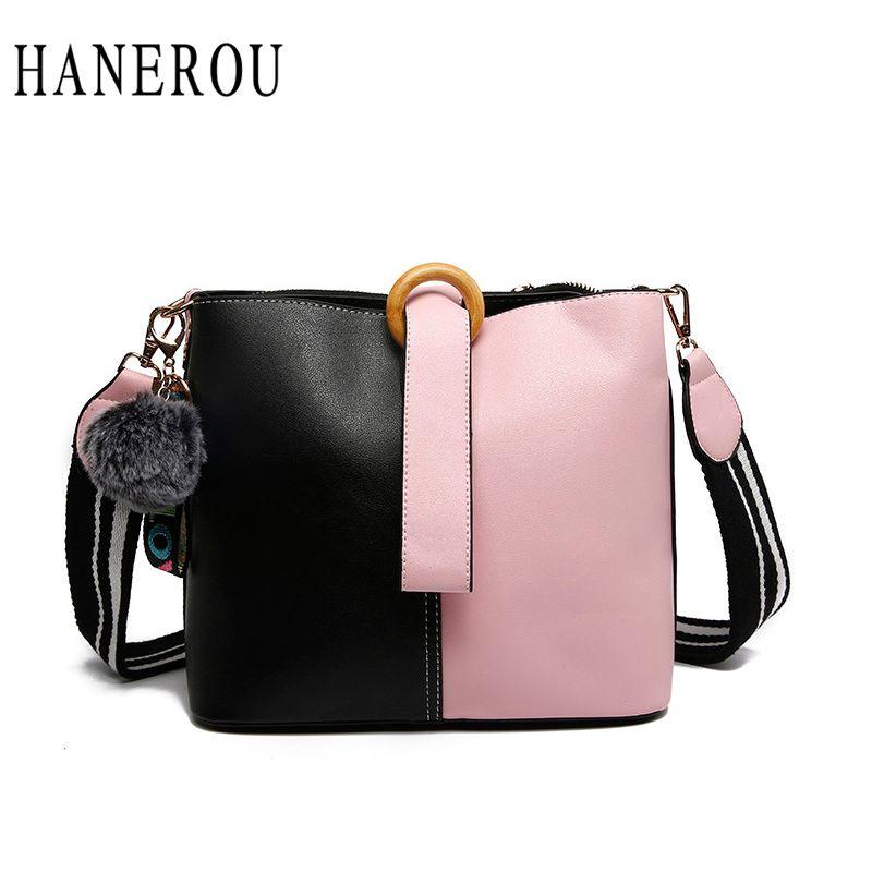 c6bb2daf5050 HANEROU Fashion Panelled Bucket Bag For Women Handbags Ladies Fur Ball Bags  Autumn Winter Shoulder Bags Woman Messenger Bag Crossbody Purse Travel Bags  For ...