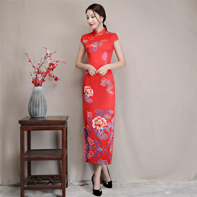 b1d0dbc7a Compre Shanghai Story Long Qipao Faux Seda Estampado De Flores Vestido  Chino Vestido Oriental Ropa De Mujer China Estampado De Hojas Cheongsam A   30.16 Del ...