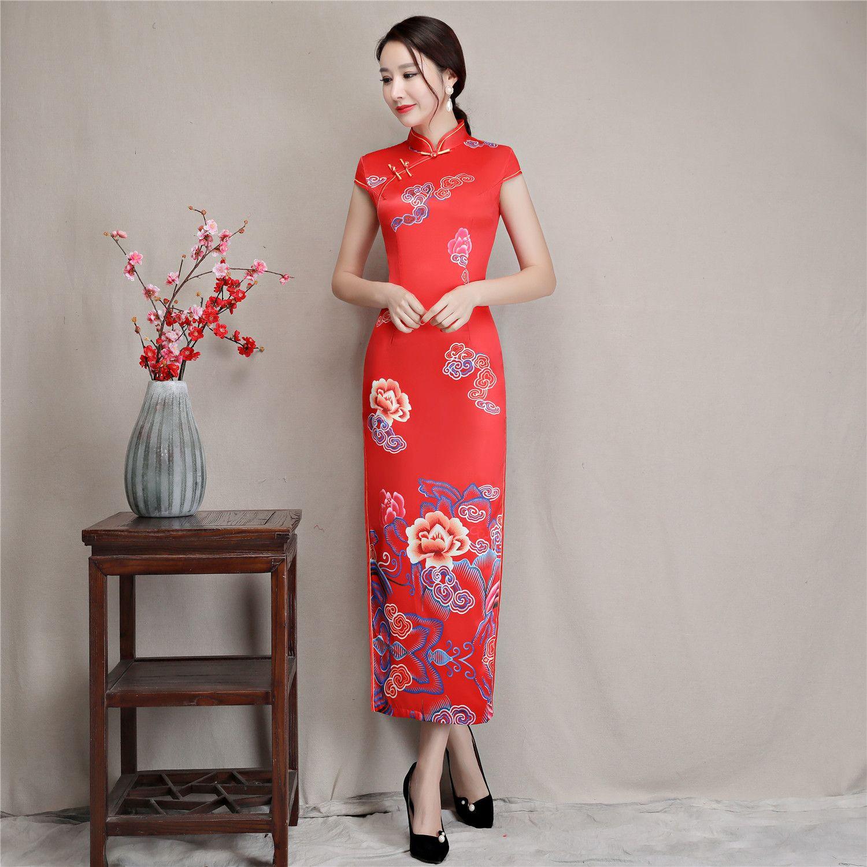 Shanghai Story Long Qipao Faux Silk Flower Print Chinese Dress