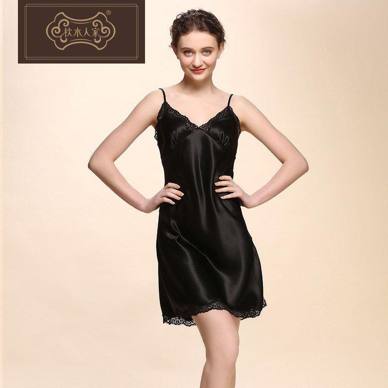 f030e04ed3d7 2019 Women S Sleep Lounge Robe Gown Sets Black Silk Dress Sleepwear ...