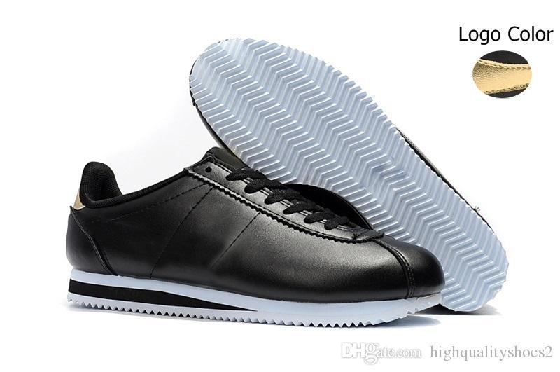 Classique Cortez Basique Cuir Casual Chaussures Pas Cher Mode Hommes Femmes Noir Blanc Rouge Doré Skateboarding Sneakers Taille 36-4