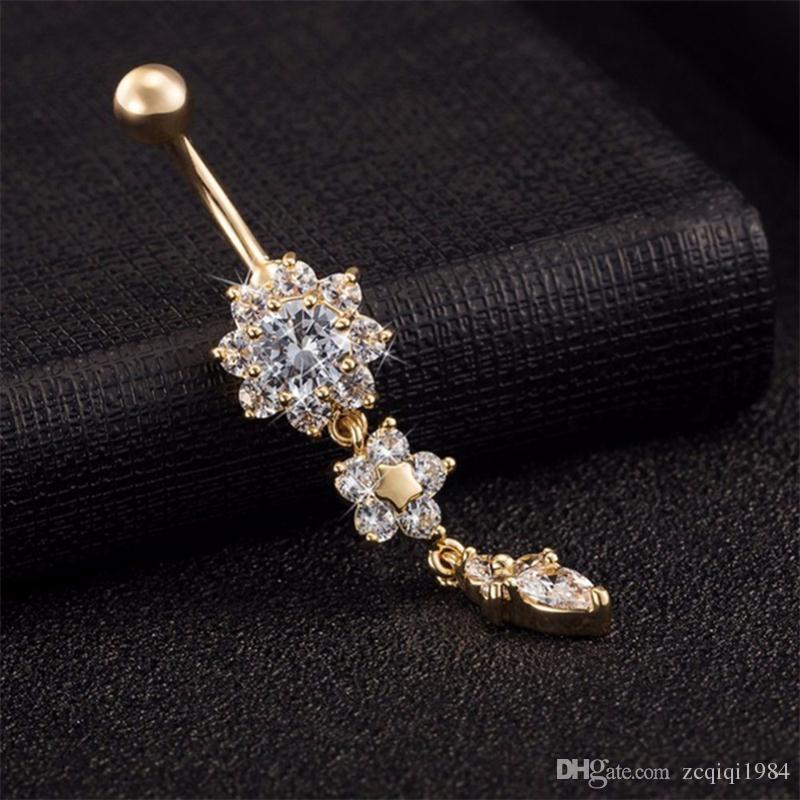 جديد وصول 2 ألوان زهرة كريستال حجر الراين السرة البطن زر الدائري بار استرخى هيئة ثقب المجوهرات