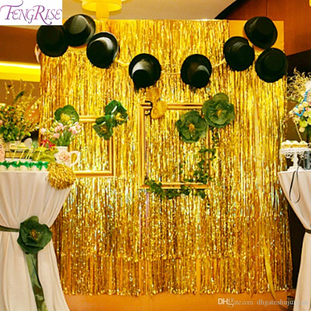 Fengrise Gold Foil Tinsel Curtain 1x3 Meters Foil Fringe Backdrop