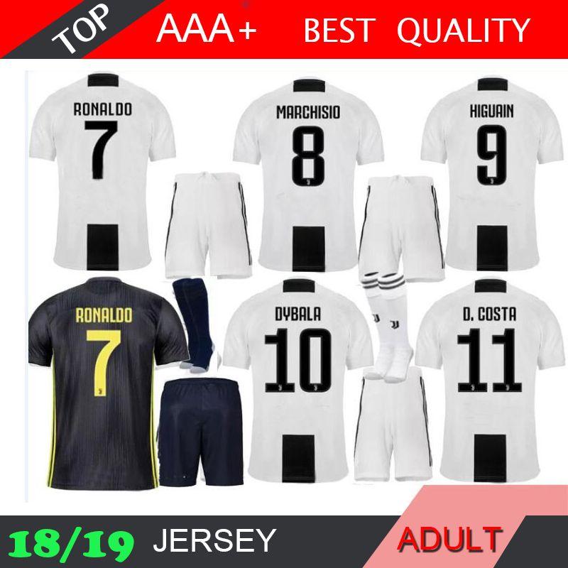89eb83284 2018 Juve Ronaldo Soccer Jersey Adult Kit HOME 18 19 HIGUAIN DYBALA ...