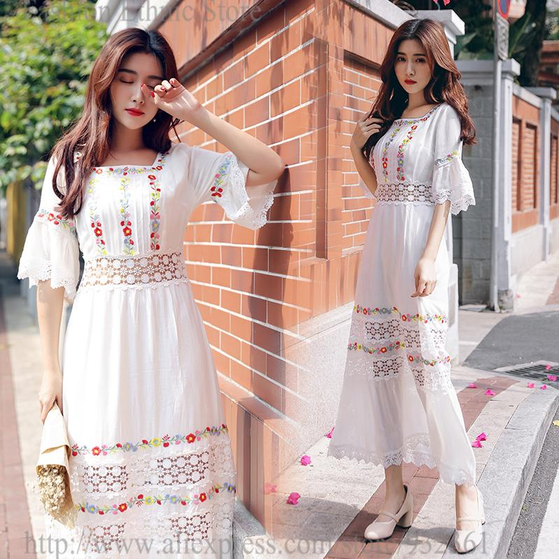 e39a176d85fe 2019 Retro BOHO Floral Embroidery Crochet Lace Long Dress Women Summer  Holiday White Maxi Dresses Vestidos Verano 2018 Robe Femme From Bishops, ...