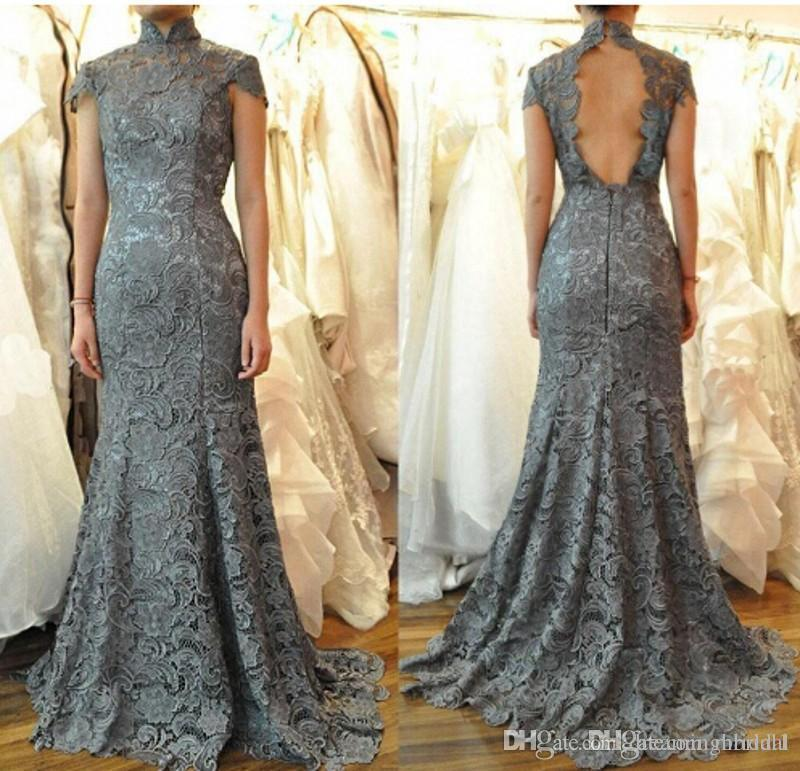 ca2f5a86976 Grey Backless Mermaid Lace Prom Dresses 2017 New Short Sleeve High Neck  Floor Length Formal Evening Dresses Party Gown Custom Made Plus Size Short  Lace ...