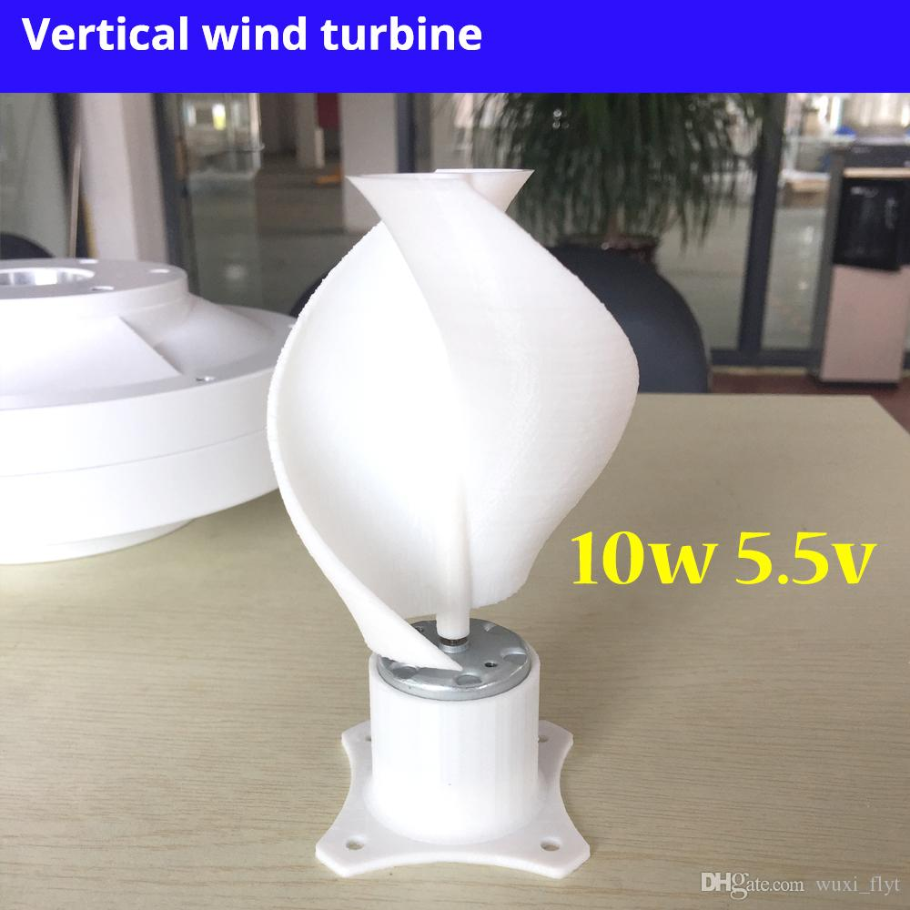 Micro Motor Small LED lights Vertical Axis Wind Turbine Generator Blades  full set DIY wind generator windmill pink color 10w